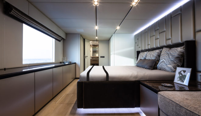 On hull one, the owner's suite is situated in the centre of the starboard hull