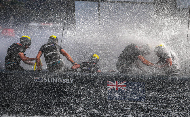 The Australia team skippered by Tom Slingsby in action in Sydney Harbour