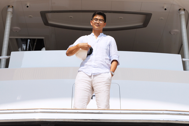Hans Lo aboard a CLB72 at the 120,000sqm Doumen shipyard in Guangdong