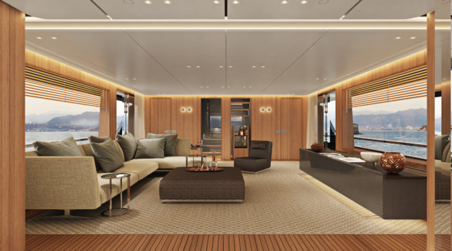 The master suite in Texture (above) and Wooden (below) on the Custom Line Navetta 30