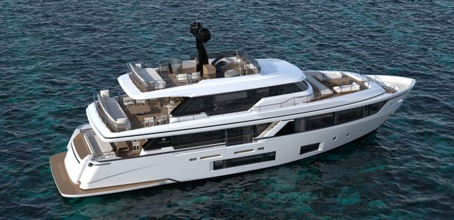 The Navetta 30 is the smallest model in Custom Line's semi-displacement line