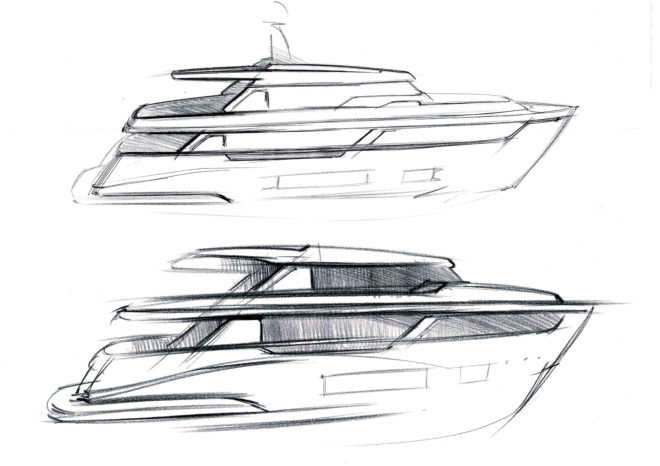 Filippo Salvetti's early sketches for the Navetta 30, due to the launch this year