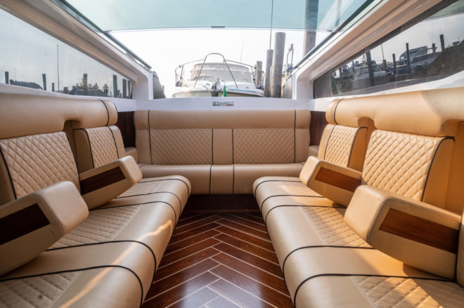 The 14-seat luxury water taxi features luxurious style and design