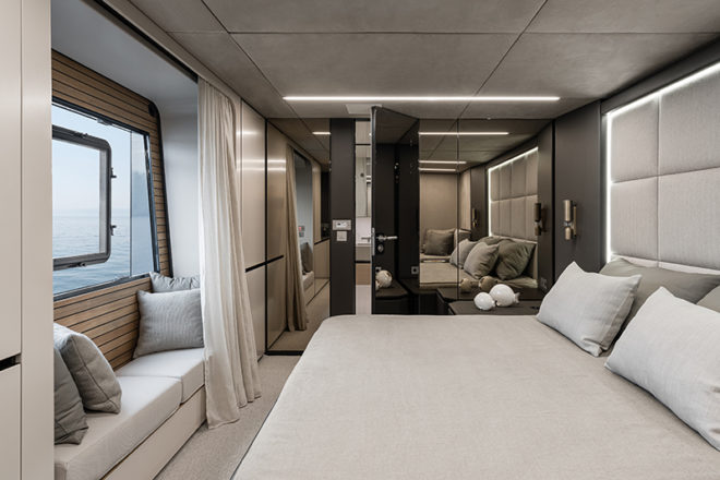 The luxurious cabins feature large windows and ensuite bathrooms