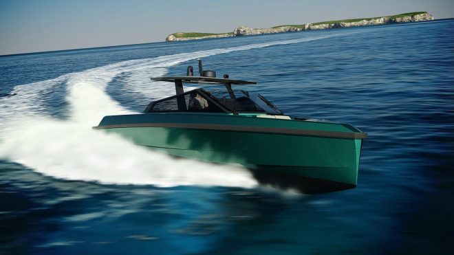 The first 43wallytender features a hull in Gator Green