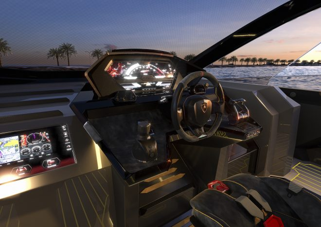 The instrument panel interprets the car cockpit in a nautical style