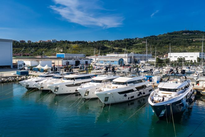 Custom Line models at the Ferretti Group Superyacht Yard in Ancona