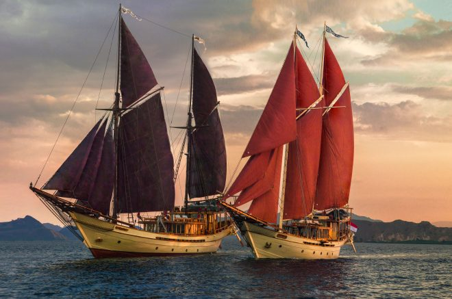 The 164ft Silolona (left) can be chartered in tandem with 134ft sister yacht Si Datu Bua (right), accommodating up to 20 guests (C) Shane Granger