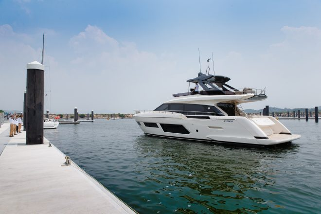 A Ferretti Yachts 720 is the first visiting yacht at Lantau Yacht Club
