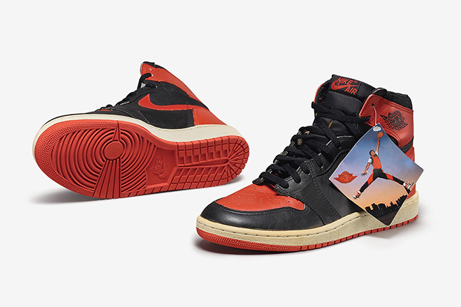 Peter Moore's Nike Air Jordan 1 High OG Bred @ Sotheby's Cult Canvas