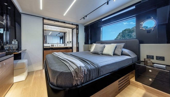 The VIP suite to port benefits from a large midships window and has a walk-in closet forward and an elegant bathroom aft